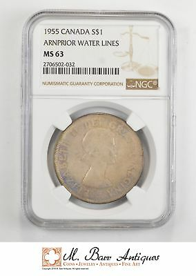 MS63 1955 Canada $1 Silver - Arnprior Water Lines - Excellent Toning - NGC *507