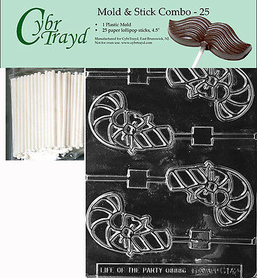 Candy Cane Chocolate Lollipop Mold 1245 Soap Candy Party Favor Christmas