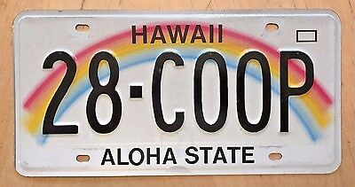 """Hawaii Rainbow Vanity License Plate """" 28 Coop """" 1928 Ford Model A Chevy Coupe"""
