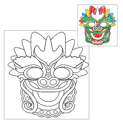 Pack of 4 Chinese New Year Colour your own Dragon Masks - Fun Party Activity