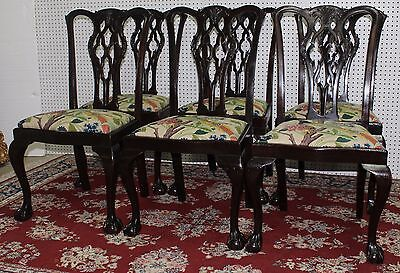 Antique Set of Six English Chippendale Chairs Carved Mahogany Circa 1890