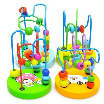 1X Children Kids Baby Colorful Wooden Mini Around Beads Educational Game Toy Hot