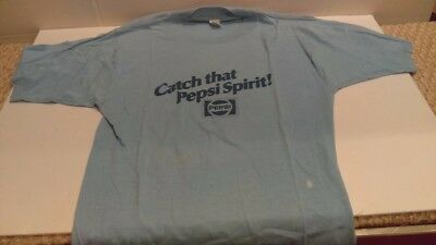 "Vintage 1980 Pepsi T-Shirt Blue ""Catch That Pepsi Spirit"" Size Large 42-44"