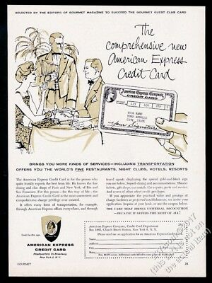 1958 American Express credit card fancy restaurant diners art vintage print ad