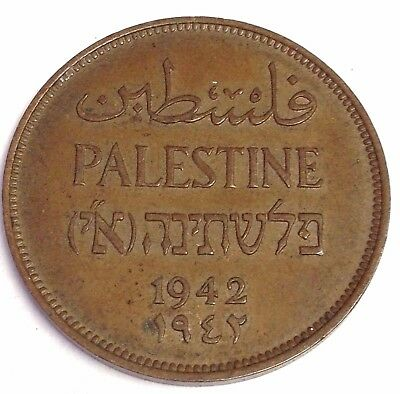 1942 Palestine Two Mils, British Protectorate coin KM#2, XF