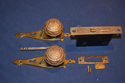 1 Set Antique Victorian Eastlake Door Knobs Brass Faceplates Beautiful