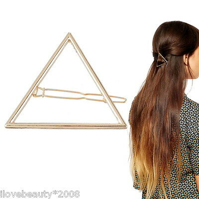 1PC  Fashion Women Girls Gold Plated Hollow Out Triangle Hair Clip Hairpin