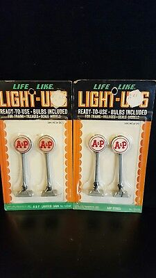 NEW Old Stock - Two Packages Vintage Life Like A&P Lighted Signs  - No. S205K