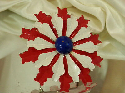 Large Red White Blue Vintage 50's Enamel Brooch Very Classy And XX Showy 279a7
