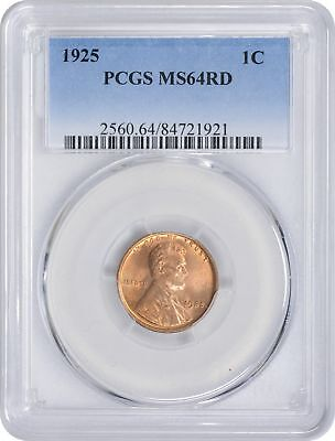 1925 Lincoln Cent MS64RD PCGS Mint State 64 Red
