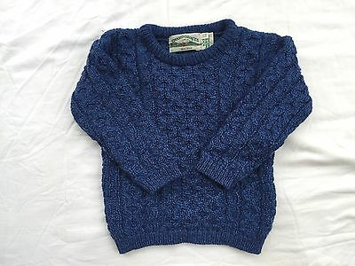 ARANCRAFTS Ireland blue 100% merino wool cable knit sweater/excellent condition/
