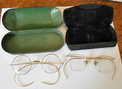 2 Pair Of Antique Gold Filled Eyeglasses, With Cases