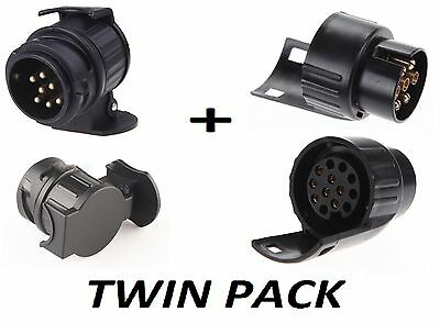 13 to 7 Pin & 7 to 13 Pin Trailer Electric Converter Tow Bar Plug Adaptor Socket