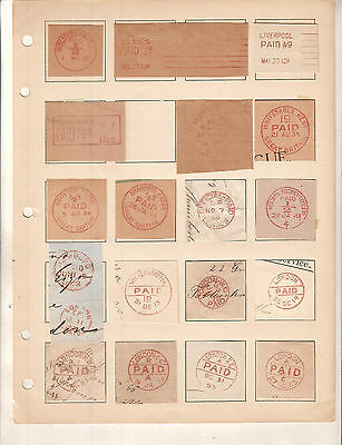 England UK Great Britain lot 0f 32 PAID cancels on piece from 1800's and 1900's