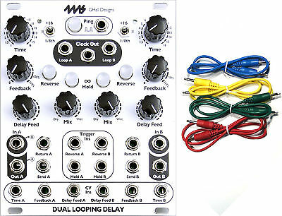 4MS DLD Dual Looping Delay Eurorack Synth Module w/ 4 Cables