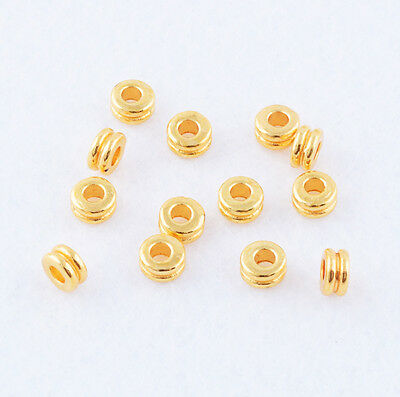 Hot 50pcs Gold plated Round Nice Beads Spaces Jewelry Findings 5X3mm