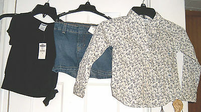 New Old Navy Black Tie Top Floral Shirt Denim Shorts Lot Girls Size 4/5 Nwt