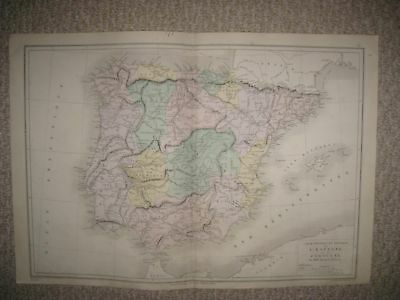Superb Gorgeous Antique 1874 Spain Portugal Handcolored French Map Rare Nr