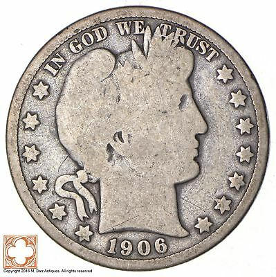 50c United States Coin - 1906-D Liberty Barber 90% Silver US Half Dollar *406