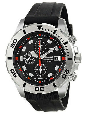 Seiko SNDD95P2 Men's  Rubber Band Black Dial Chronograph Sports Watch