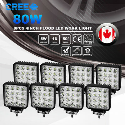 8pcs 4inch 80W CREE LED Work Light Pod Flood Beam Offroad 4WD Atv Boat Truck Fog