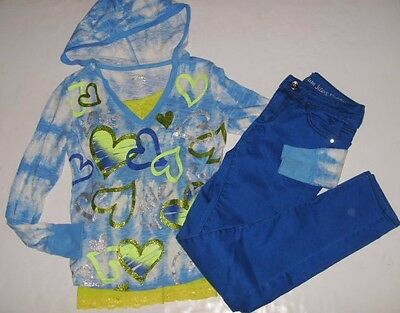 JUSTICE GAP Girls size 14 CAMI HEART HOODIE SHIRT JEANS OUTFIT NEW EUC