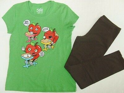 JUSTICE ON Girls size 14 BAD APPLE T SHIRT LEGGINGS OUTFIT EUC
