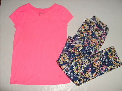 JUSTICE Girls size 14 NEON SHIRT FLORAL JEANS BACK TO SCHOOL OUTFIT NEW EUC