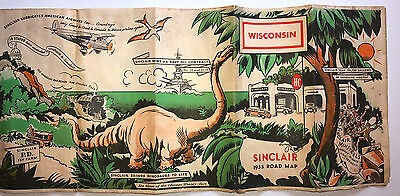 Cool 1933 Century of Progress SINCLAIR Wisconsin Road Map w/ Dinosaur