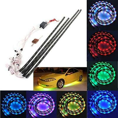 4x 7Color RGB LED Strip Under Car Tube Underbody Under Glow System Neon Light BS