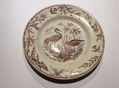 Antique Brown Transferware Aesthetic Movement Dinner Plate Ridgway Staffordshire