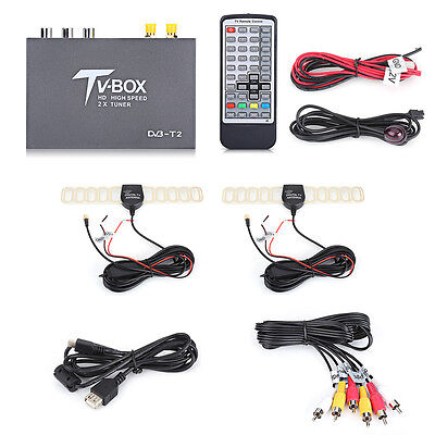 HD DVB-T2 Car Mobile Digital TV Box MPEG-4 H.264 Receiver Dual Antenna Tuner DH