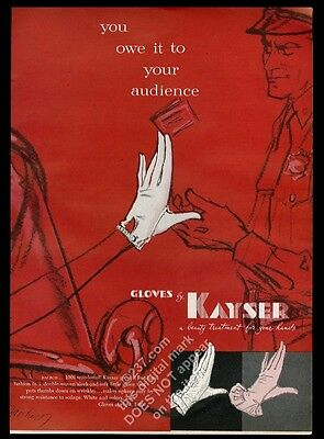 1955 Kayser women's gloves illustrated vintage print ad