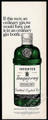 1967 Tanqueray Special Dry Gin classic green bottle art vintage print ad