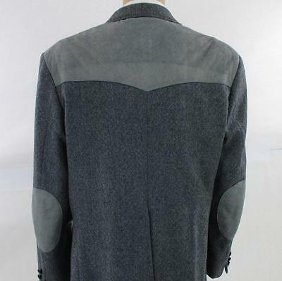 46 R Pendleton Western Gray Tweed Wool Leather Mens Jacket Sport Coat Blazer