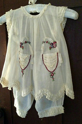 Vintage 1930 Girl Dress Bloomers Lace Ruffles Embroidery Ribbon Trim