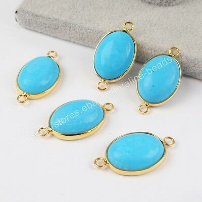 5Pcs Oval Blue Howlite Turquoise Gold Plated Charm Jewelry Making DIY HOT HG1413