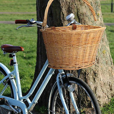 Retro Wicker Bicycle Bike Front Basket Box Pet Shopping Keeping + Straps AU