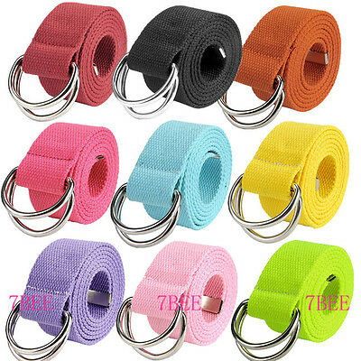 Unisex Double D-Ring Buckle Candy Color Canvas Waist Strap Belt Casual Waistband