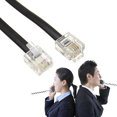 0.6M 2ft. RJ11 Port 6P4C Telephone Extension Line Cable Cord Wire Black
