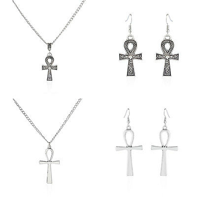 1pcs Women Antique Silver Egyptian Cross Ankh Charms Pendant Earring & Necklace