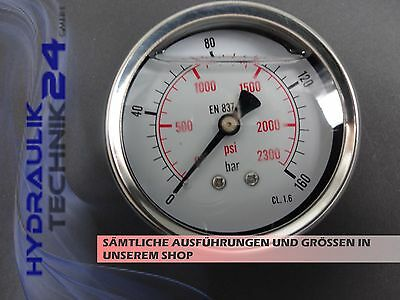 Hydraulic Manometer Glycerin Stainless Steel Eco-Line 0-160 BAR