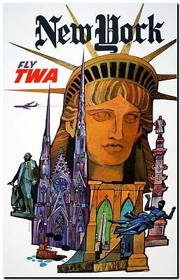"Vintage Travel Poster CANVAS PRINT New York TWA Statue Liberty 18""x12"""