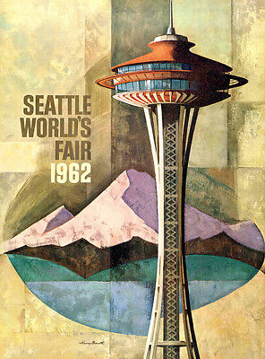 "Vintage Retro Travel Poster CANVAS PRINT Seattle World Fair 18""x12"""