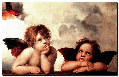 "Raphael Classic Cherubs Two Angels CANVAS ART PRINT Poster 8""X 10"""