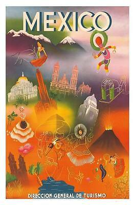 "Vintage Travel Poster A4 CANVAS PRINT ~ Mexico 12"" X 8"""