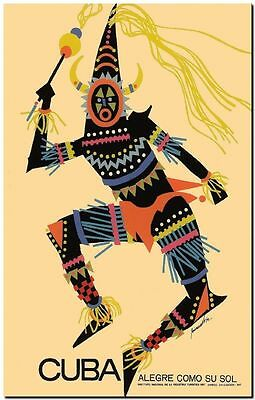 "Vintage Travel Poster CANVAS PRINT ~ Cuba tribal man design 24""x18"""