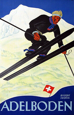 "Vintage Retro Travel Poster CANVAS PRINT Swiss Ski Poster 8""X 12"""