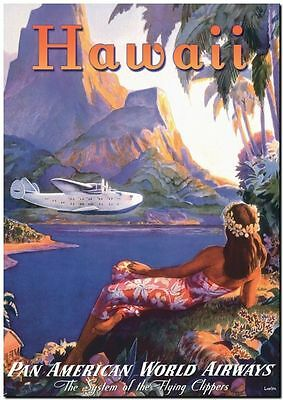 "Cool Retro Travel Poster CANVAS ART PRINT ~ Hawaii Girl plane sea 32""x24"""