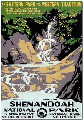 "Vintage Travel Poster CANVAS PRINT USA National Park waterfall 8""X 12"""